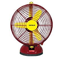 Havells Birdie 230mm Table Fan (Yellow and Maroon)