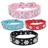 Huhuswwbin Hundehalsband, verstellbar, modisch, Strass-Blume, Kunstleder, für Kleine Hunde, Größe M, Rot