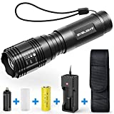 BYBLIGHT LED Torch, 800-Lumen CREE LED Rechargeable Pocket Torch Light, Adjustable Focus LED Flashlight with 26650 Rechargeable Battery, 5 Modes and Waterproof Handheld Light for Indoor and Outdoor Use