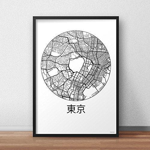 Cartel Tokyo Japón Minimalista Mapa - City Map, decoración, regalo