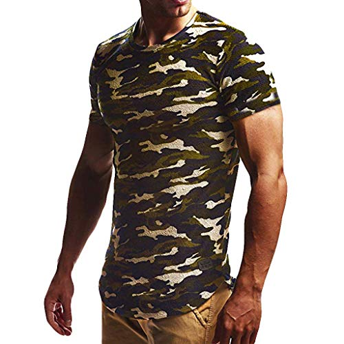 jieGREAT ❤❃ Top Räumungsverkauf ❤❃, Men es Camouflage Stripe Pattern Casual Fashion Stripe Lapel Short Sleeve Shirt