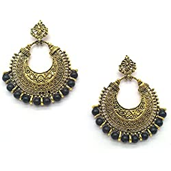 iKraft Oxidized Chandbali Earrings with Black Beads German Silver Plated Antique Gold Finish Chandelier Earrings for Girl and Women