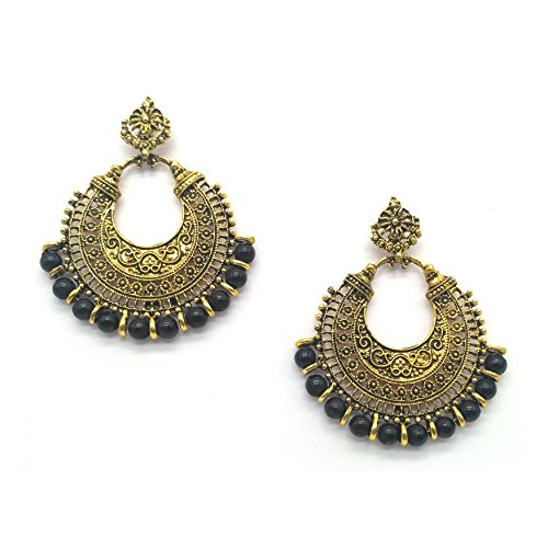 iKraft Oxidized Chandbali Earrings with Black Beads German Silver Plated Antique Gold...