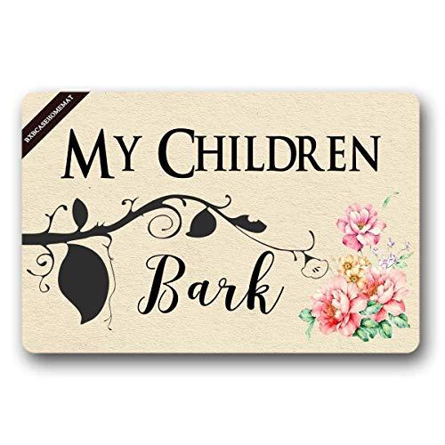 Jocper Meine Kinder bellen Willkommensmatte Indoor/Outdoor Fußmatte 23.6 (L) X15.7 (W) Zoll Rutschfeste maschinenwaschbare Inneneinrichtungen