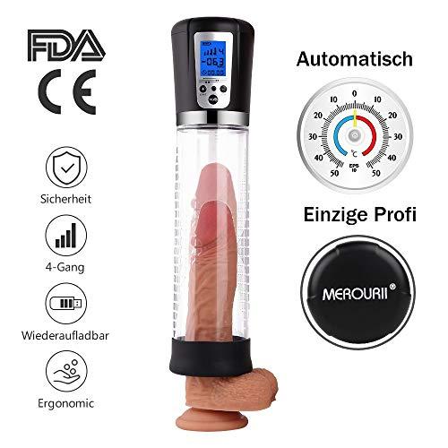 MEROURII Penispumpe Auto Puls Masturbator Elektrisches Sexspielzeug für Männer Penis Erektion Vergrößerung Penis Stimulation Trainer Viergang, ABS Silikon LED-Anzeige USB-Lade Schwarz mit 2 Penisring