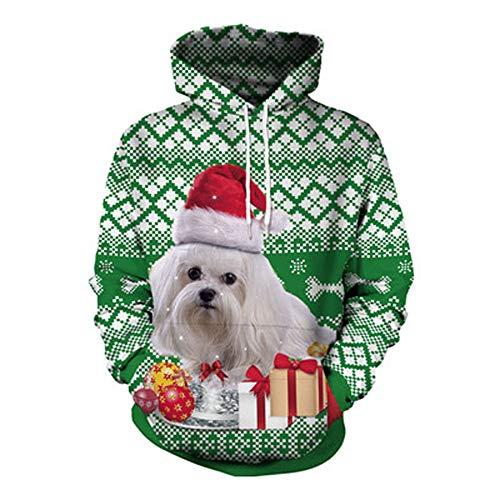 YWLINK Damen Sweatshirt Unisex Strickpullover Rudolph Pullover Weihnachten Hund Drucken(L, Grün)