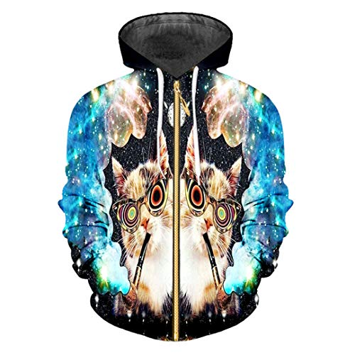 (Kapuzenshirt mit Reißverschluss Man 3D Pullover Print Starry Sky Hoodies Sweatshirts Black XXXL)