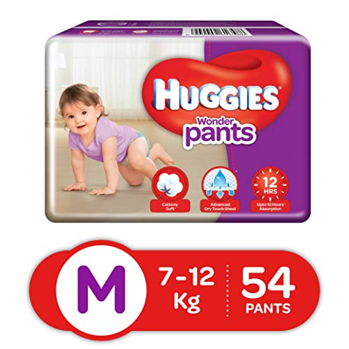Huggies Wonder Pants Diapers, Medium (Pack of 54)