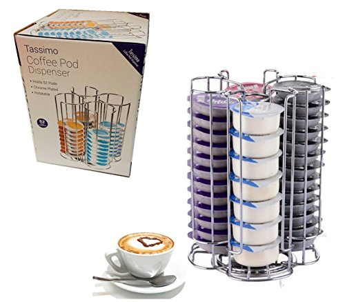 Cromo Pod T-Disc dispensador de soporte para Bosch Tassimo máquina de café, gira por la facilidad de acceso (52Pod dispensador de torre)