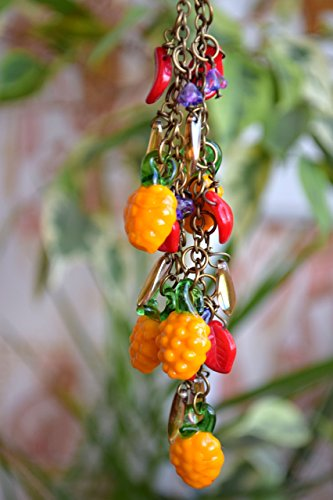 lampwork-necklace-beaded-necklace-pineapple-jewelry-glass-necklace-fruit-necklace-glass-bead-harvest