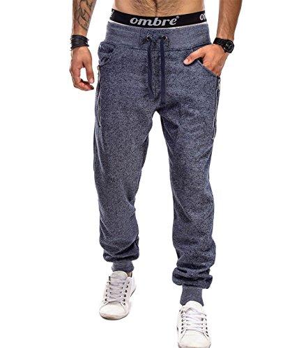 BetterStylz TusconBZ Zip Pantalon de Jogging Sport Harem fermeture éclair UNI Homme div. Color (M-XXL) Bleu foncé chiné