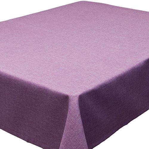 Tischdecken schmutzabweisend VH, 130 x 130 cm, Nappe Effet Lotus,  imperméable résistant aux Taches, différentes Couleurs Mauve Clair