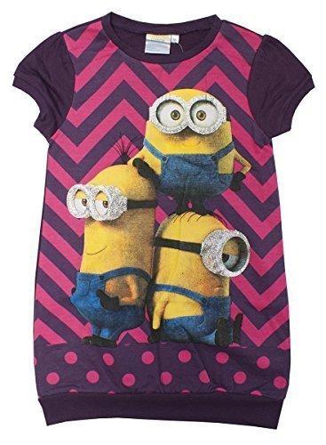 Minion Kleid (Mädchen Despicable Me Minions kurzärmlig Tunika Pulli Kleid Größe from 3 to 8 Years - Lila, 6)