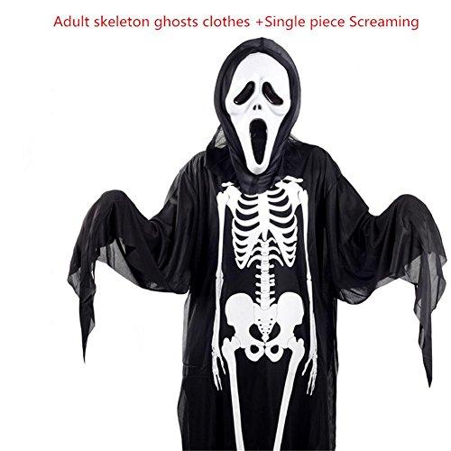 Kostüm 118 Weiblich (Maskerade Maske Halloween Kostüm Erwachsene Kind Männlich Und Weiblich Horror Cosplay Leistung Zombie Schädel Skeleton Ghost Coat Maske Einwegartikel ,)