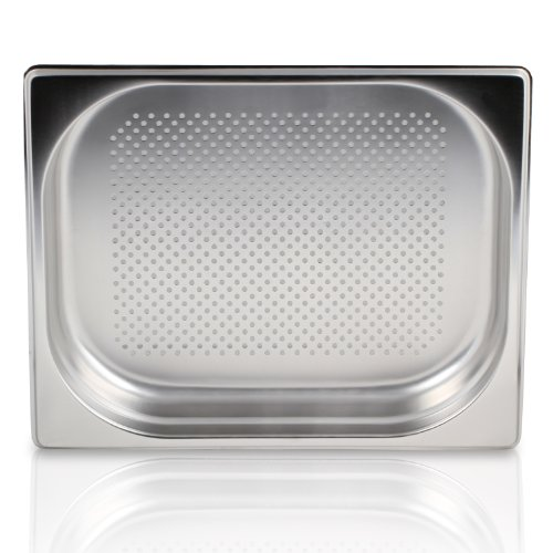 Greyfish GN-Behälter :: gelocht :: für Gaggenau  Miele  Siemens Dampfgarer (Edelstahl  Spülmaschinen geeignet, Gastronorm 23, B 32,5 x L 35,4 x H 4,0 cm)