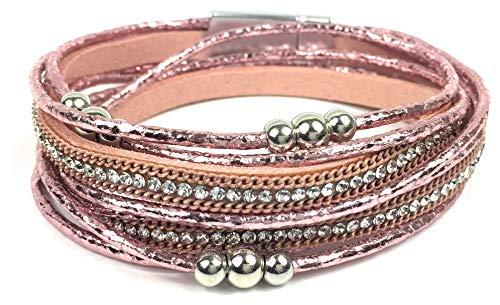 Wickelarmband Damen Schmuck doppelt Magnetverschluss Perlen Nieten Kette geflochten Strass Glitzer Metallic Rosegold Rosa Pink
