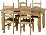 Seconique Corona Ausziehbarer Esstisch mit 4Stühle mit Corona braun Seat Pads, aus gewachstem Kiefernholz/braun Kunstleder