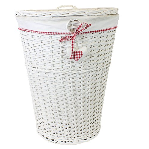 Cesto de mimbre blanco para ropa sucia (Incluye Tapa), diseño con Lazo y corazón