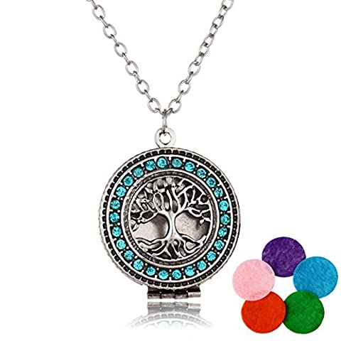 Tree Women Necklace Essential Oil Diffuser Necklaces Cubic Zirconia Kids Pendant Jewelry Chain Party