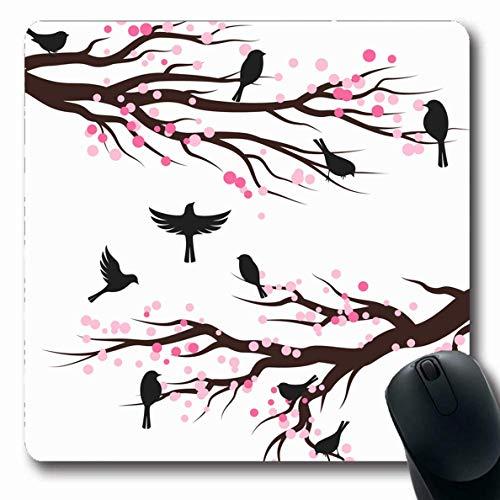 Luancrop Mousepads Garten Rosa Asien Frühlingsblüten Bäume Vögel Natur Grenze AST Kirsche Eleganz Baum rutschfeste Gaming Mouse Pad Gummi Längliche Matte -