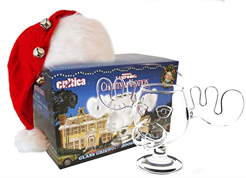 Schöne Bescherung Elchglas Christmas Vacation Moose Mug aus Glas offiziell lizensiert in Warner Brothers Fotobox inklusive Clark Griswold Weihnachtsmann Mütze wie im Film