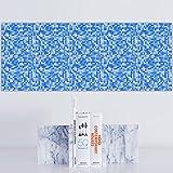 20 stück Fliesenaufkleber für Küche und Bad | Mosaik-Stil Orange Blau Designs wandfliesen aufkleber für 20x20cm Fliesen | Fliesen-Aufkleber Folie | Deko-Fliesenfolie für Küche u. Bad ( HL108) , Blau , 15*15cm