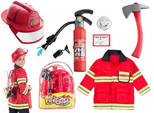 Kostüm Feuerwehrmann - Born Toys (8-teiliges waschechtes Feuerwehrmann-Kostüm und Feuerwehrmann-Zubehör mit echtem Wasserschießen-Feuerlöscher Ideal für Halloween