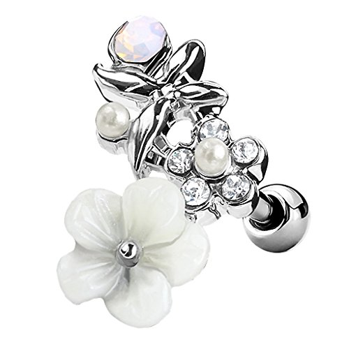 Piercingfaktor Tragus Helix Ohr Cartilage Knorpel Piercing 316 L Chirurgenstahl Stecker mit Hawaii Blüte Silber