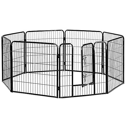 Milo & Misty Heavy Duty Large Metal 8 Panel Foldable Puppy Dog Playpen/ Rabbit/ Pet Enclosure (80 X 80cm)