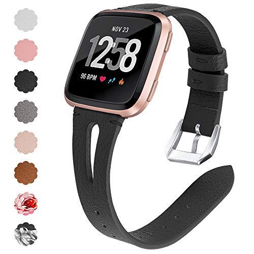 KIMILAR Armbänder Kompatibel mit Fitbit Versa/Versa Lite Armband Leder, Hohl Ersatzband Armbänder Band Uhrenarmband für Fitbit Versa & Lite Edition Smartwatch Damen Herren,Schwarzes Blumenmuster -