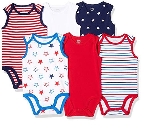Amazon Essentials 6-Pack Sleeveless Bodysuits Layette Set, Mehrfarbig (Uni Americana), Gr. 40 cm (Herstellergröße:Preemie) - Preemie Kleidung