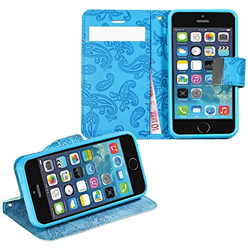 Anco PU cuir de Flowers Book Case Light Blue/Bleu Clair pour Apple iPhone 5, 5S, 5SE-Carte de crédit, compartiment fenêtre intérieur, fleurs empreinte de qualité et support (Étui, Hou