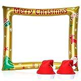Cappello Di Natale Decorazioni Natalizie Palloncini con Cornice per Foto Cappello di Babbo Natale per Adulti Rifornimenti del Partito di Natale
