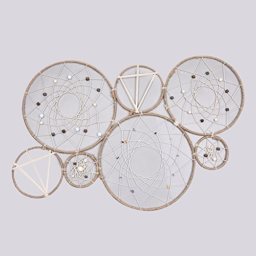 Jannyshop - Atrapasueños hecho a mano con red circular para colgar en la pared, adorno para manualidades