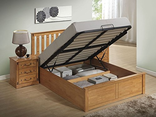 Lazybeds Kensington Oak Colour Wooden Storage/Ottoman Bed Frame - (Kingsize)