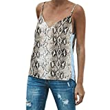 JMETRIC Leopard Print Lose Leibchen Mode V-Ausschnitt Tops Weste Hemd Bluse (Khaki,XS)