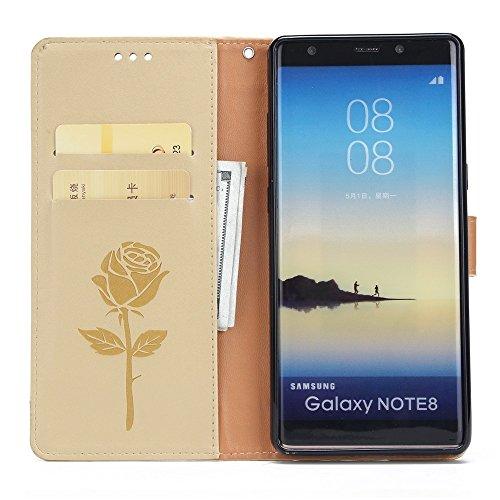 Dual Color Matching Premium PU Leder Flip Stand Case Cover mit Karte Cash Slots und Lanyard für Samsung Galaxy HINWEIS 8 ( Color : Brown ) White