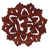 #7: RGRANDSONS Handmade Wooden Key Hanger Holder Wall Decor Om Round 8 Inch