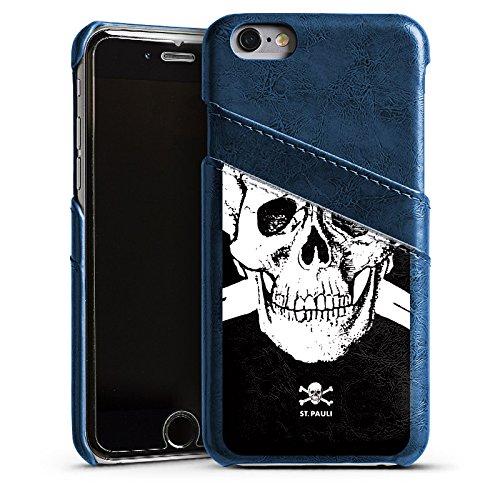 Apple iPhone 7 Lederhülle Leder Case Leder Handyhülle FC St. Pauli Fanartikel Fußball Leder Case Navyblau