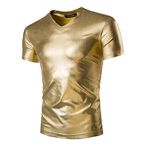 Preisvergleich Produktbild hippolo Herren Unterhemd V Neck Top Shirt Clubwear Kurzen Ärmeln T-Shirt gold gold XXL