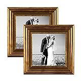 2er Set Bilderrahmen 10x10 cm Gold Barock Antik Massivholz mit Glasscheibe und Zubehör / Fotorahmen / Barock-Rahmen