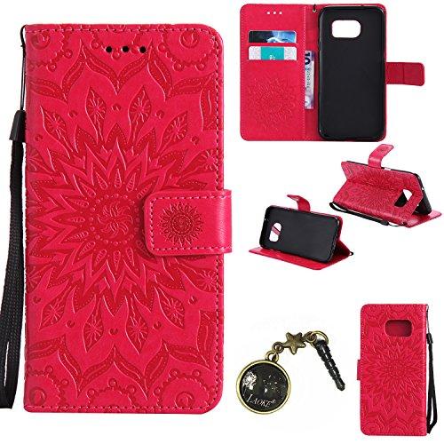 Preisvergleich Produktbild für Samsung Galaxy S7 Edge Hülle,Echt Leder Tasche für Samsung Galaxy S7 Edge Flip Cover Handyhülle Bookstyle mit Magnet Kartenfächer Standfunktion + Staubstecker (2)