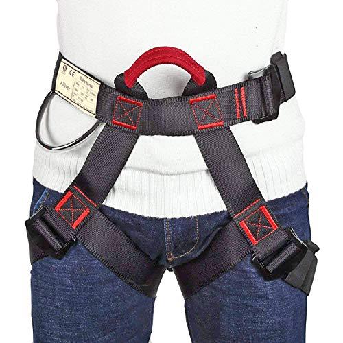 Ailiver Imbracatura da Arrampicata Imbracatura di Sicurezza Kit con Fibbia Regolabile Donna Uomo Bambino Mezza Imbracatura di Guida Nero