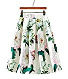 LemonGirl Women's High Waist Print Puff Skirt Midi Pleated Skirts