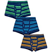 4 KIDZ Childrens Kids Boys Elasticated 3 Pack Multipack Cotton Boxer Trunks Underwear