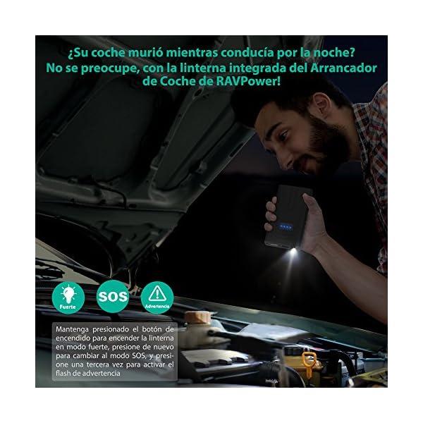 Arrancador de Coche 10000mAh Jump Starter de RAVPower con Protección Inteligente para de Motores de Gasolina de 3L, Bateria Externa- Negro