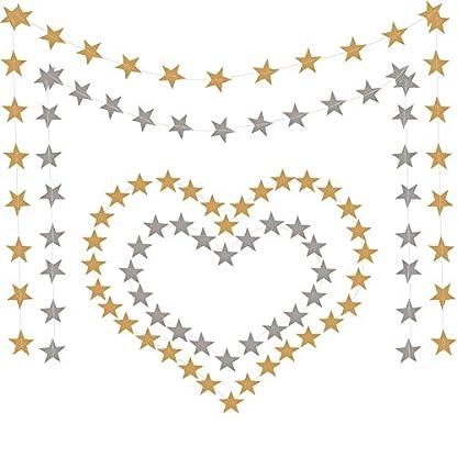 YANX-Girlande-zum-Aufhngen-mit-108-Sternen-als-Dekoration-fr-Weihnachten-Decken-Wanddekorationen-Geburtstagsparty-Banner-Gold-und-Silber