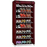 8-Layer Shoe Rack Stand Shoe Protected from Weather & Dust(Maroon)