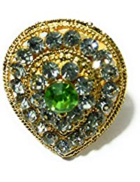 Diva Traditional & Ethnic Gold Plated Finger Ring For Women GREEN(Adjustable)