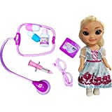 Montez 7 PCS Medical Equipments Doctor Play Set Toy With Pretty Princess Doll With 3D Eyes For Kids (Multicolor)